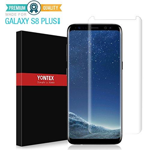 Galaxy S8 Plus gehärtetes Glas Displayschutz Schutzfolie [Case Friendly], 3D gebogene Kristall Free Full Coverage Film für Samsung Galaxy S8 Plus, 100% Zufriedenheitsgarantie von YONTEX