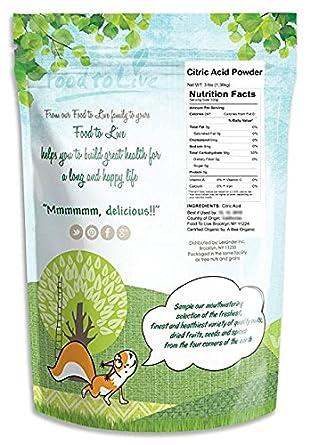 779cd38debaf Food to Live Poudre d acide citrique (anhydre, granules fins, catégorie  comestible, grand pour la fabrication de fromage, bon pour des bombes de  Bath, ...