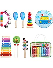 Kids Musical Instruments, Childom Musical Instruments Set with Xylophone for Kids, Children Percussion Rhythm Band Set, Musical Games Tambourine Present with Carrying Bag