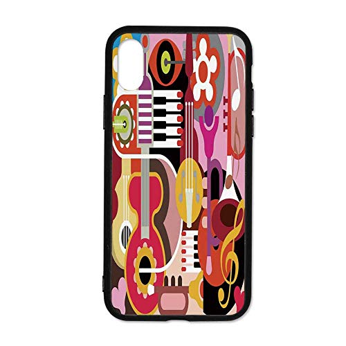 Music Decor Simple Phone Case,Complex Graphic with Various Musical Properties Icons Keyboard Festival Piano Party Art Design Compatible with iPhone X,iPhoneX
