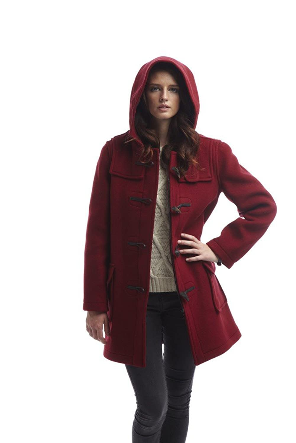 Ladies Classic Duffle Coat Burgundy: Amazon.co.uk: Clothing