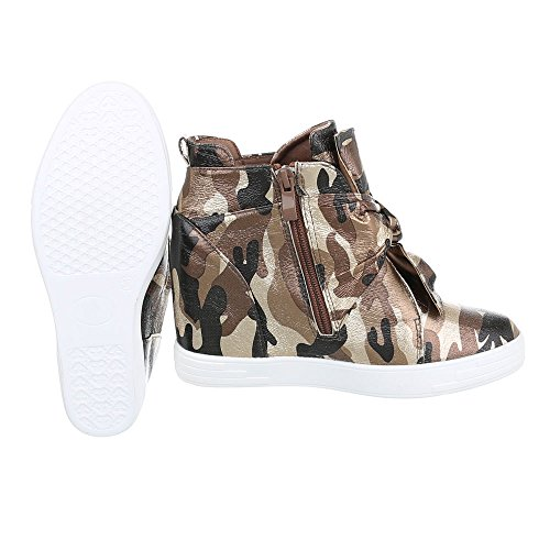 Women's Boots Wedge Heel Wedge Ankle Boots at Ital-Design Green Multi qRTsx