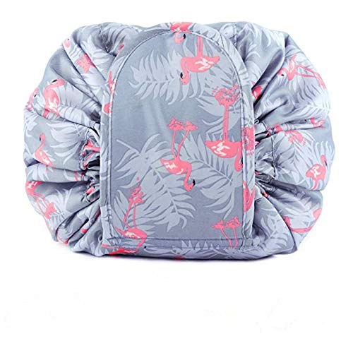 Kasmena Makeup Bag Lazy Makeup Organizer,Portable Drawstring Cosmetic Bag Large Capacity Travel Makeup Pouch Magic Bag for Womens Girls,Blue