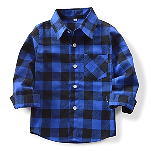 Sleeve Flannel Long Kids (SERAIALDA Baby Boys Girls Button Down Plaid Flannel Long Sleeve Shirt 5T-6T(Tag Size 130))