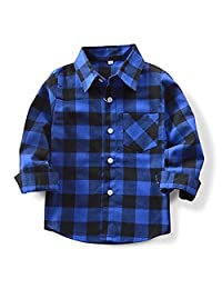 Baby Boys Girls Button Down Plaid Flannel Long Sleeve Shirt 2T-3T