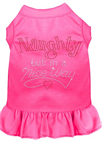 Mirage Pet Products 57-17 XSBPK Pink Rhinestone Naughty but in a Nice Way Dress Bright, X-Small