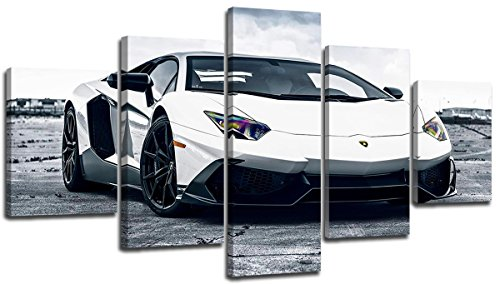 sunfrower Art-Large 60X32 Inch Various Types Big Pictures of Lamborghinis, Classic Car Canvas Wall Art Framed White Lamborghini Boys Fast Car Cool Sports Poster 5 Panel 3D Diamond Print Painting