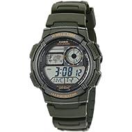 Men's '10-Year Battery' Quartz Resin Watch, Color:Green (Model: AE1000W-3AV)