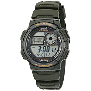 Casio Men's '10-Year Battery' Quartz Resin Watch, Color:Green (Model: AE1000W-3AV)