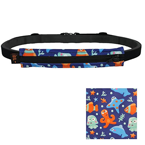 SPIbelt Kids Belt: No-Bounce Belt with Hole for Insulin Pump, Medical Devices or Headphones for Active Kids! (Under The Sea with Black Zipper) For Sale