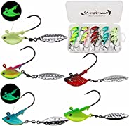 Dovesun Fishing Jig Heads Underspin Jig Heads with Willow Blade Glow/Green/Blue/Colorful/Red 1/8oz 1/4oz 3/8oz