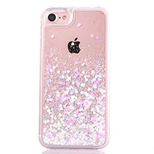 iPhone 6/6S Plus Case,Creative Quicksand Flowing Liquid Dynamic Floating Bling Glitter Sparkle Love Heart Hard Case Back Cover for Apple iPhone 6 6S Plus 5.5 inch