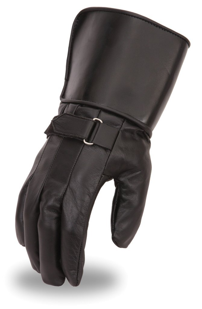 First Manufacturing Mens Chaser Crossover Race Leather Motorcycle Gloves with Gauntlet Black, Large