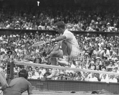 Rod Laver jumping over net 8x10 11x14 16x20 photo 681 - Size 8x10 Your Sports Memorabilia Store