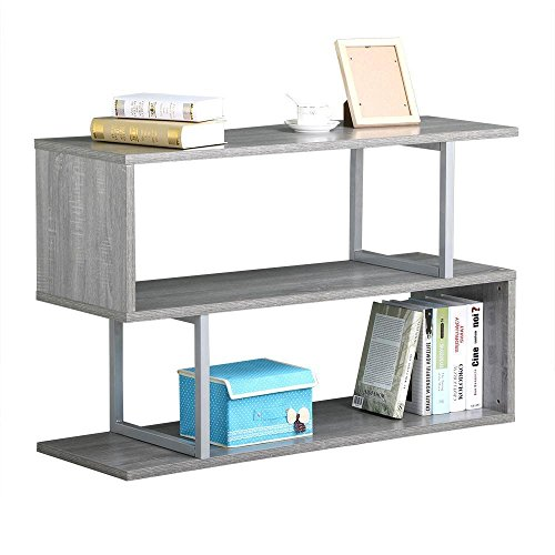 Topeakmart 3 Tier Wood Narrow Hall Console Accent Table S Shaped Bookcase Display Shelving Unit ( Gray Oak, 45''L ) - Oak 3 Drawer Console