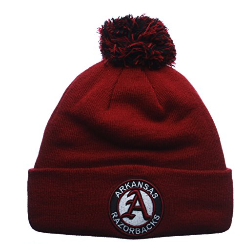 Arkansas Razorbacks Cardinal Cuff Beanie Hat with POM POM - NCAA Cuffed Winter Knit Toque Cap - Arkansas Razorbacks Pom Pom