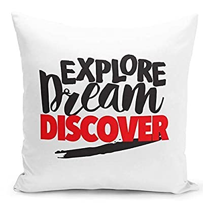 Explore Dream Discover Quote throw pillowcase, modern accent pillow case, sofa throw pillow cover, fun pillow cover, boys and girls pillowcase gift for teens, couch cushion cover
