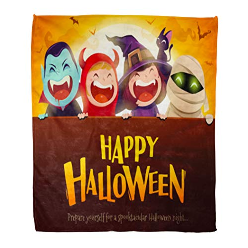 Golee Throw Blanket Happy Halloween Party Group of Kids in Costumes Big Signboard 60x80 Inches Warm Fuzzy Soft Blanket for Bed -