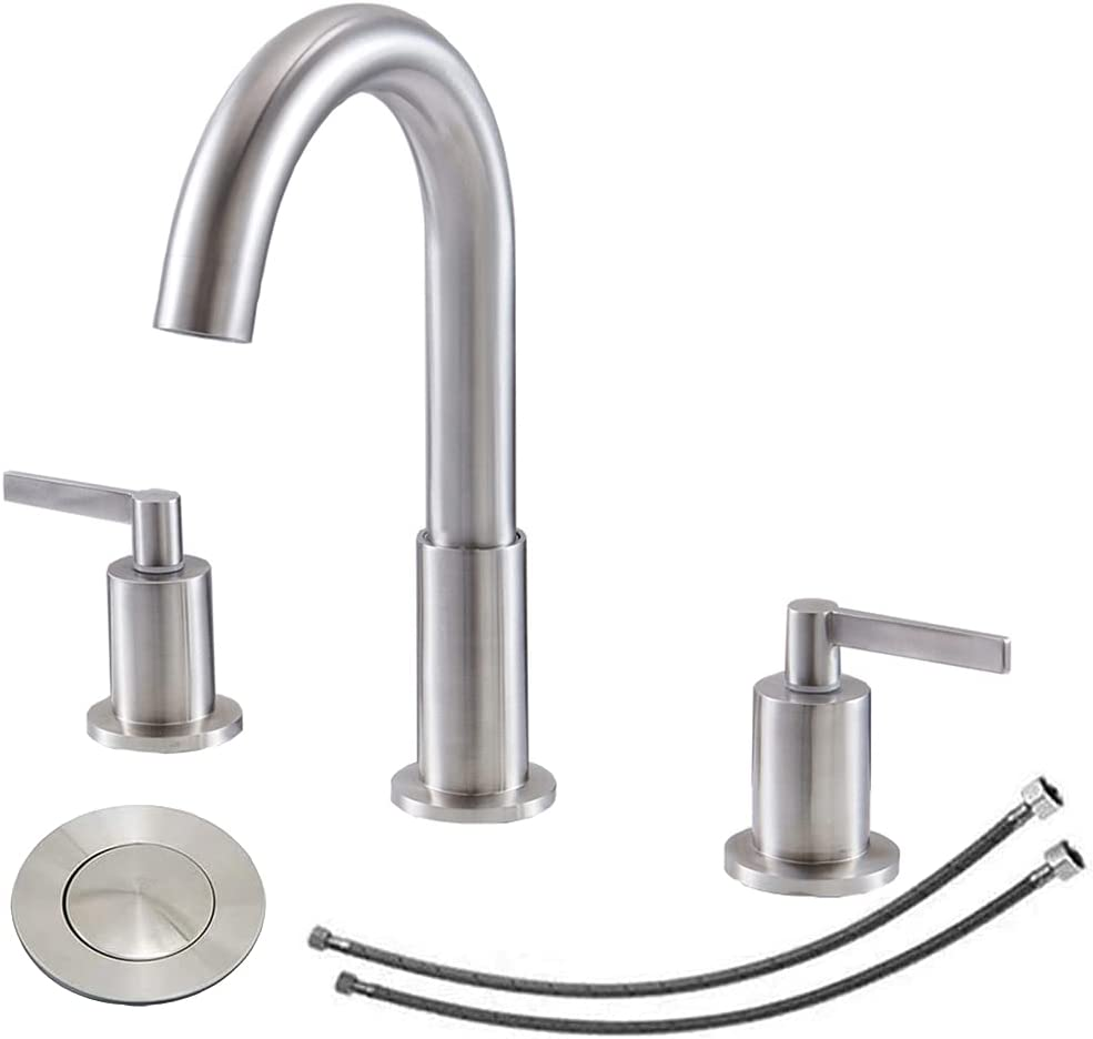 KINGO HOME Modern Contemporary Widespread 2 Handle 3 Hole Brushed Nickel Bathroom Faucet, Bathroom Durable Vanity Sink Faucet with Water Hoses and Pop-up Drain