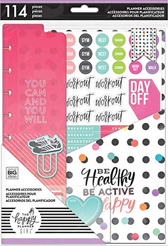 Create Healthy - The Happy Planner Classic Healthy Hero Accessory Pack, Stickers, Paper, Pockets, Sticky Notes, MAMBI, Create 365