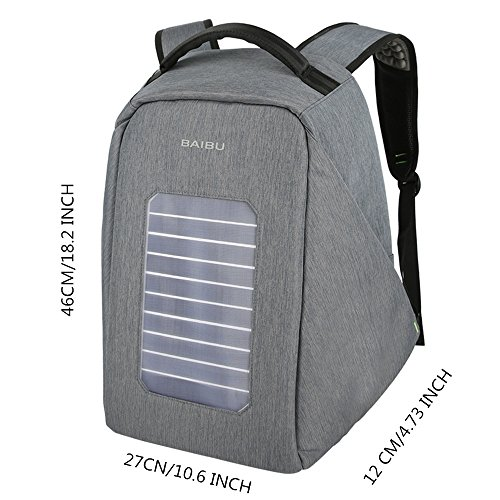 Solar Powered Charger Backpack,Polyester Waterproof Outdoor Travel Camping Rucksack Anti-theft 16'' Business Laptop Backpack (Grey) by BAIBU (Image #3)