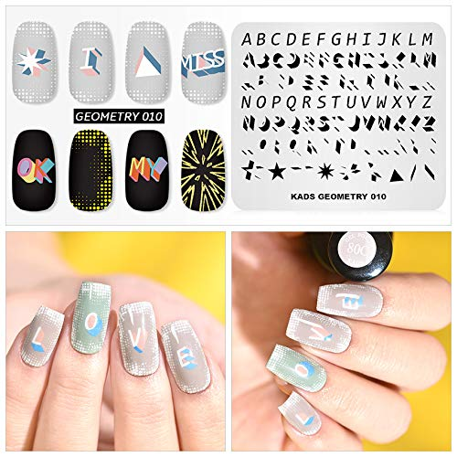 - Nail Stamping Plate Fashion Geometry Words Letters Stars Patterns Theme Multi-Pattern Stamp Print Image Stamp Template Nail Art for Nail Design By Rolabling
