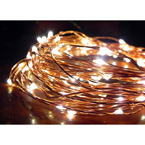 Norsis Fairy Lights - Flexible Copper Wire Starry String Lights - 100 Miniature LED Lights, Extra Long Wire - Warm White Light - Indoor/Outdoor - Interior Decor, Wedding, Craft and DIY -