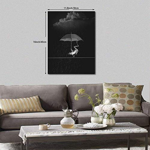 (Neweast Frog Holding Umbrella in Rainy Day Painted Framed Prints Printed On Canvas Pictures for Home Decor Modern Artwork for Room Decorations Ready to Hang 12x16inch)