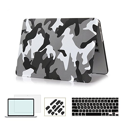 RYGOU 4 in 1 Matte Finish Plastic Hard Case with Keyboard Cover Screen Protector Compatible MacBook Pro 13