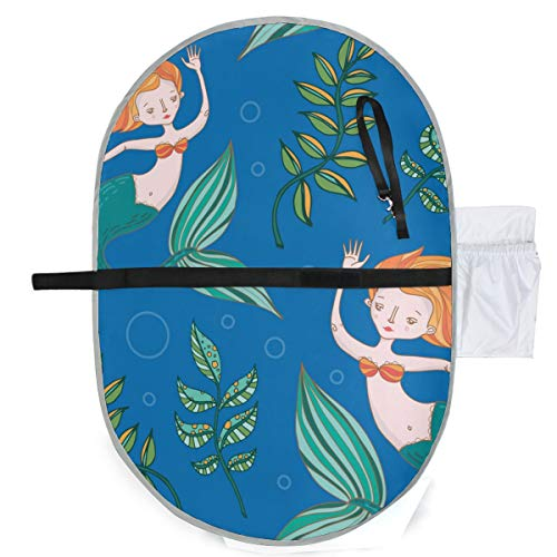 Mermaid Waterproof Baby Changing Pad, Portable Diaper Changing Pad, Diaper Bag Mat, Foldable Travel Changing Station | Stroller Strap,Side Pocket for Wipes Diaper| for Infants & Newborns