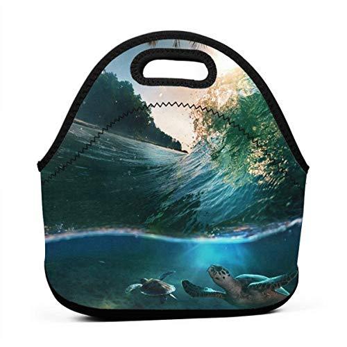ote Sea Turtle Beside Seacoast Neoprene Lunch Handbag Food Zipper Storage Lunch Box For Men Women Kids ()