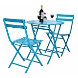 3 Pcs. Blue Table Chair Set Foldable Outdoor Patio Garden Pool Metal Furniture