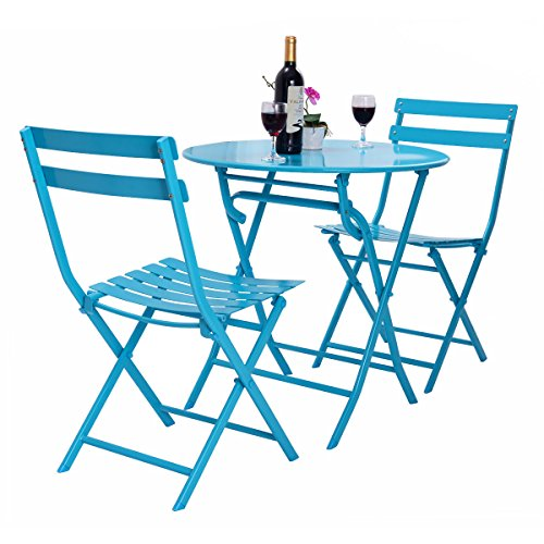 3 Pcs. Blue Table Chair Set Foldable Outdoor Patio Garden Pool Metal Furniture by Allblessings