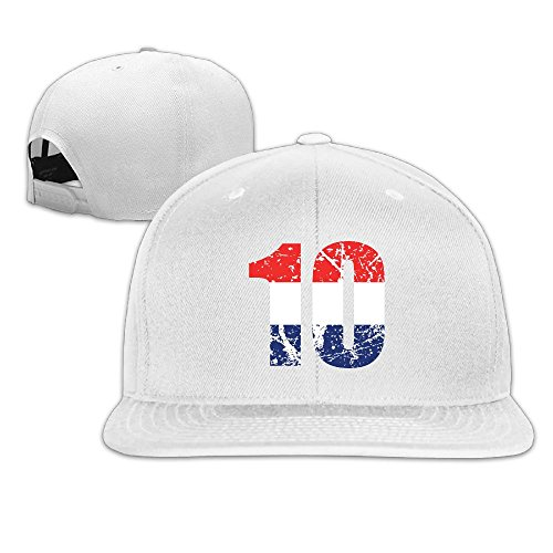 VivianYan Adjustable Flat Baseball Caps Unisex Red White and Blue Colorblock Number Ten White