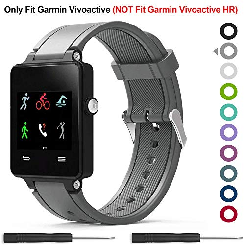 Garmin Vivoactive Band,Meifox Solf Silicone Wristband Replacement Bands for Garmin Vivoactive Watch. (Gray)