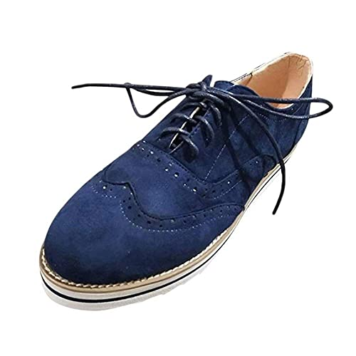 Mocasines Mujer Cordones Ante Piel Brogues Plataforma Zapatos Derby Cuña Botas Planos Casual Vintage Moda Verano Negro Marrón Gris Azul Rosa 35-43: ...