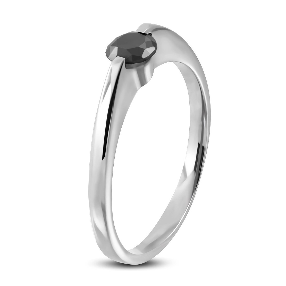 Stainless Steel Compression-Set Round Solitaire Engagement Ring with Jet Black CZ