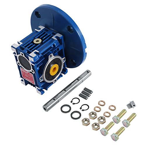 Happybuy Speed Reducer Ratio 20/1 Worm Gear Speed Reducer with Double Shaft High Torque Worm Gear Reducer Perfect for Electric Door Mini Crane ()