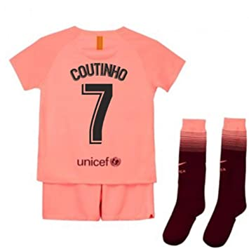 ac03b34daf5 UKSoccershop 2018-2019 Barcelona Third Nike Little Boys Mini Kit (Philippe  Coutinho 7)