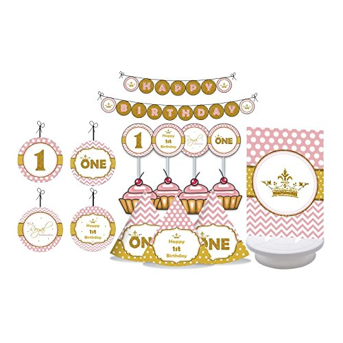 Princess 1st Birthday. Gold & Pink First Birthday for Girls. Fun to by One. One Year Old. Decorating Kit Includes Party Hats, Centerpieces, Bunting Banner, Danglers and Cupcake Toppers 1st Cupcake Centerpiece