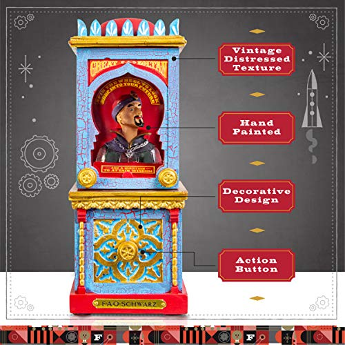 FAO Schwarz Zoltan The Fortune Teller Vintage Carnival-Style Fortune Telling Machine, Button-Activated Talking Fortunes with LED Light & Animation; Classic Retro Design in Blue/Red/Gold by FAO Schwarz (Image #4)