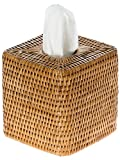 KOUBOO 1030055 La Jolla Rattan Square Tissue Box Cover, 5.5'' x 5.5'' x 5.75'', Honey Brown