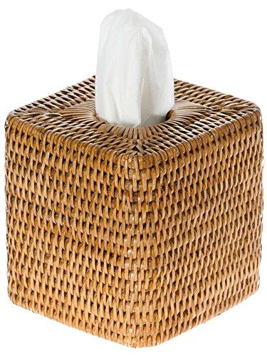 (KOUBOO 1030055 La Jolla Rattan Square Tissue Box Cover, 5.5