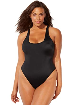 71d615db36 Swimsuits for All Women's Plus Size Ashley Graham Hotshot One Piece Swimsuit  at Amazon Women's Clothing store: