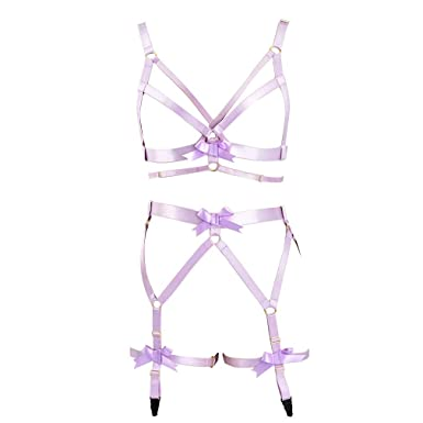 7e93a776c Image Unavailable. Image not available for. Color  Purple Strappy Body  Harness Cage Lingerie Full Garter Belt ...