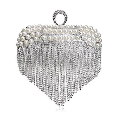 Las Embrague de de Curso Nupcial Broche Fin de Partido Mujeres del del de Diamantes WANYANB Bolso de Borlas Baile gUnPP6E