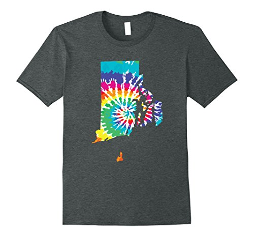 Mens Tie Dye Rhode Island Shirt Tie Dyed Print State Shape Tee XL Dark Heather
