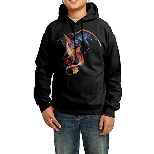 YHTY Youth Boys/Girls Hoodie Charizard Mega Black Size XL (Round Golf Hat)