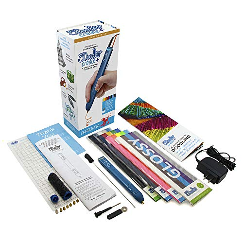 3Doodler Create+ Deluxe 3D Printing Pen Set, Marine Blue - with 100 Filaments (Over 800' of Extruded Plastic) + 6 Nozzles + Mini Doodlepad (2019 Model)