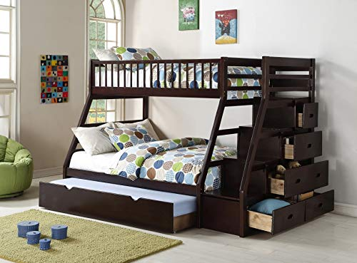 Twin Over Full Staircase Bunkbed Including Twin Trundle - Espresso